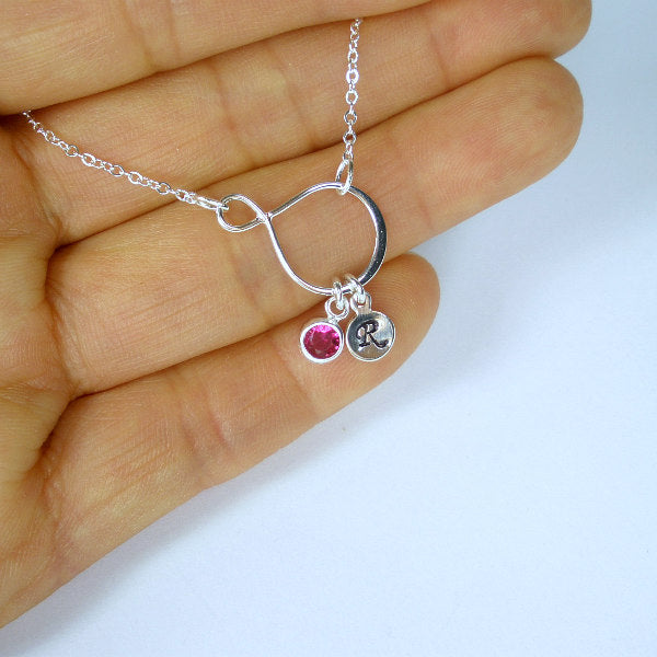 initial gemstone necklace sterling silver birthstone