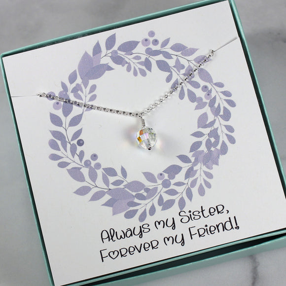Sister Gift | Swarovski Crystal AB Bead Necklace, Sterling Silver