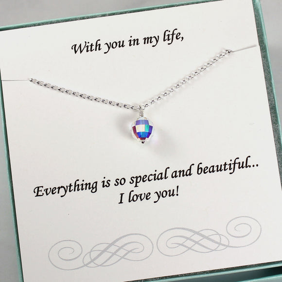 Gift for Her | Swarovski Crystal AB Bead Necklace, Sterling Silver