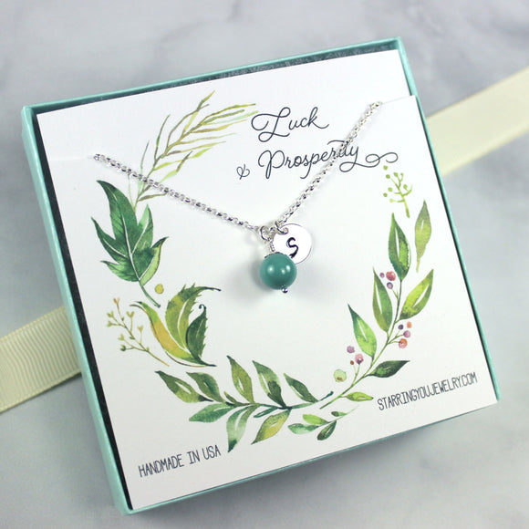 Swarovski Crystal Pearl Necklace, Jade Color, Sterling Silver