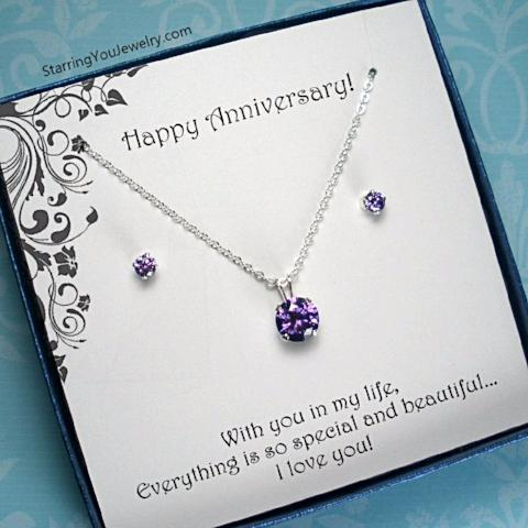 Anniversary Gift for Her, Wife, Girlfriend, Sterling Silver CZ Jewelry