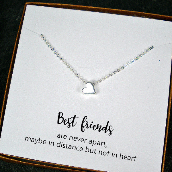 Best Friend Gift Minimal Heart Bead Charm Necklace Sterling Silver