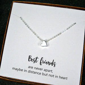 long distance best friend gift heart necklace sterling silver