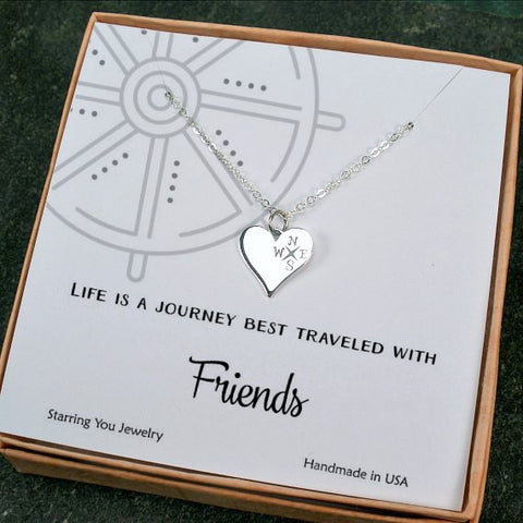 gifts for friends unique best friend gift friendship heart compass necklace sterling silver message jewelry