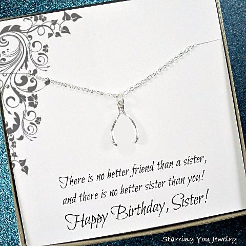 sister birthday gifts wishbone lucky necklace