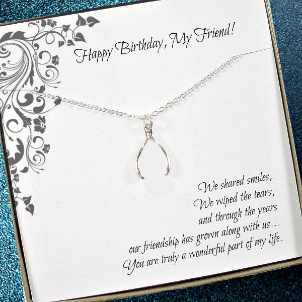 Friend Birthday Gift, Wishbone Necklace, Friendship, birthday message jewelry