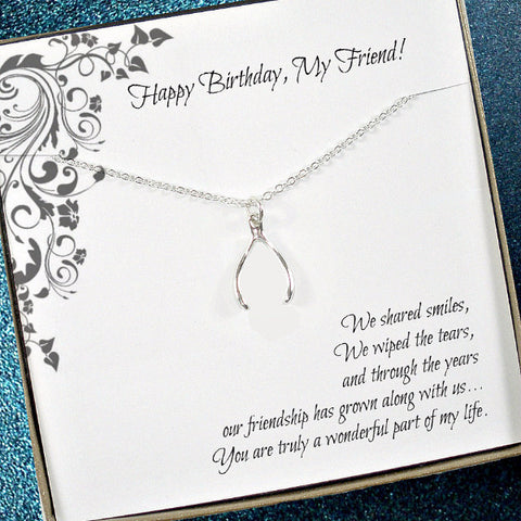 Friend Birthday Gift, Wishbone Necklace, Friendship, birthday Card