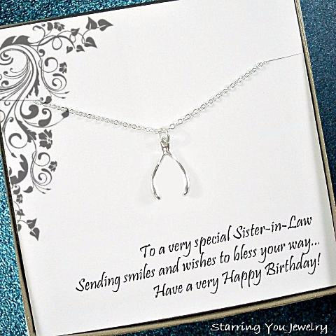 sister in law birthday gift lucky wishbone necklace sterling silver message jewelry