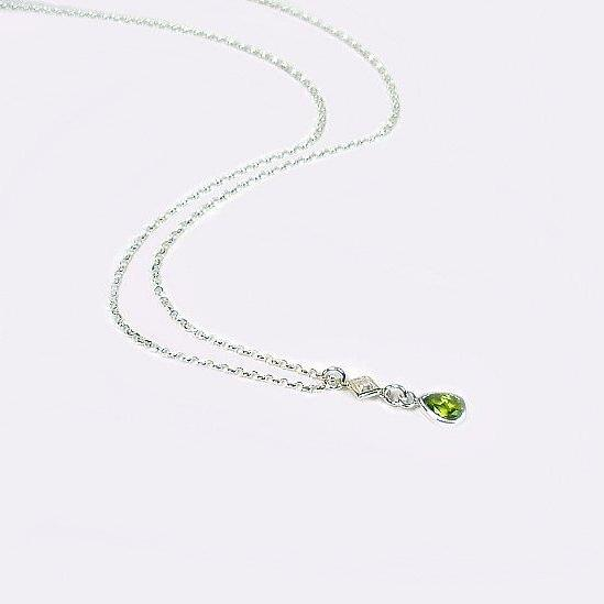 August birthstone peridot necklace sterling silver