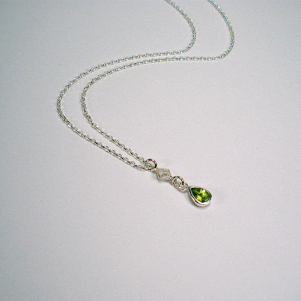 sterling silver teardrop birthstone necklace gemstone jewelry womens gifts