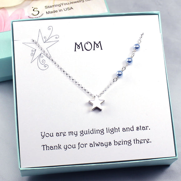 Gift for Mom | Star Charm Necklace, Swarovski Crystal Pearls, Sterling Silver