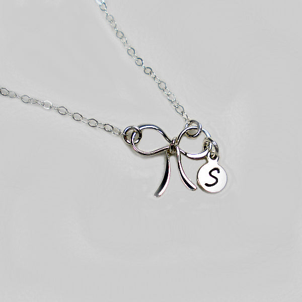 bow necklace with personalized initial sterling silver
