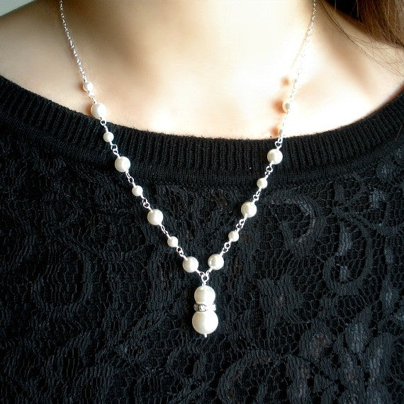 Wedding Pearl Necklace, Sterling Silver, Swarovski