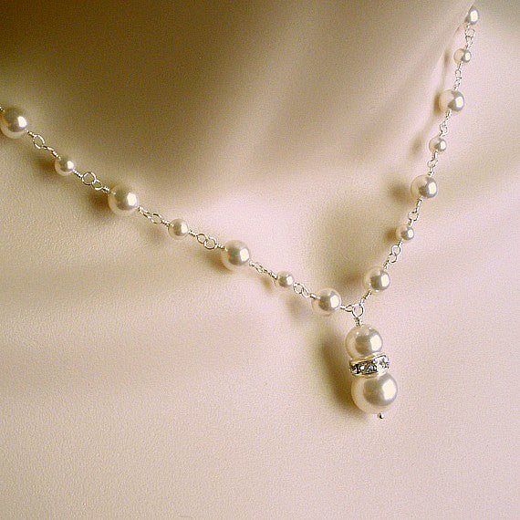Elegant Pearl Wedding Necklace, Sterling Silver