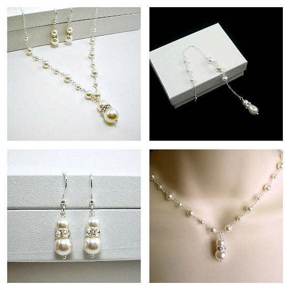 bridal pearl jewelry set backdrop necklace earrings swarovski