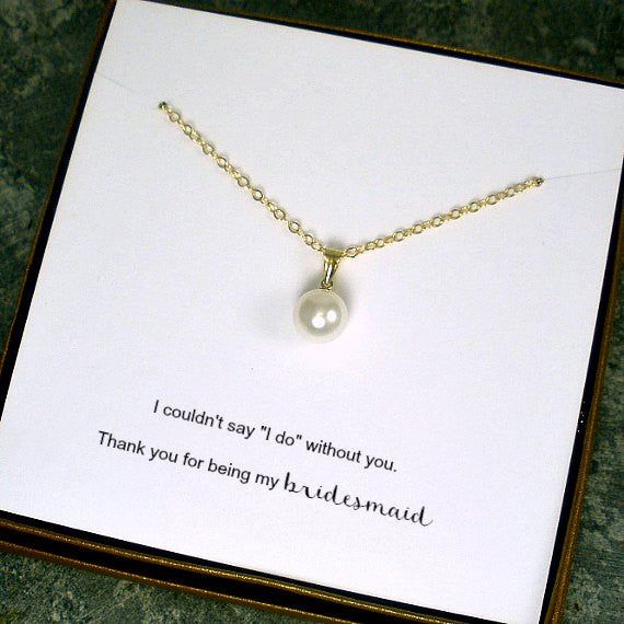 pearl bridesmaid necklace gift set swarovski gold custom jewelry