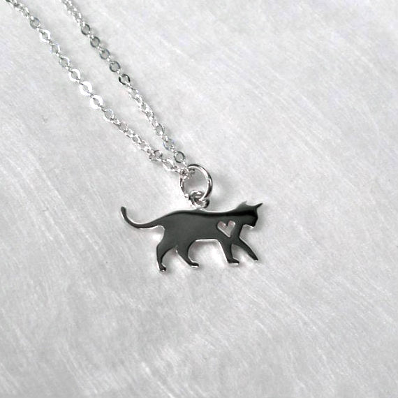 sterling silver cat charm necklace cat lover gifts