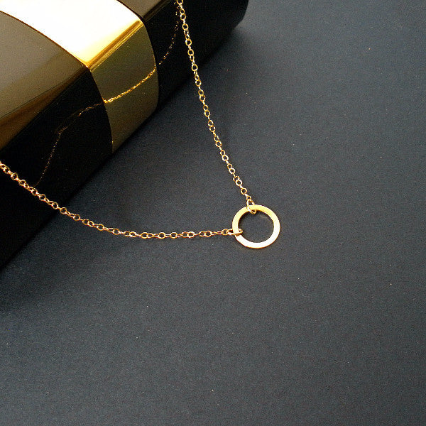 Dainty Simple Gold Circle Necklace, Minimal, Everyday, Karma Jewelry