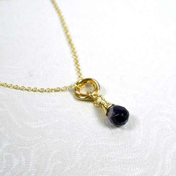 Soul Sister Gift - Amethyst Gemstone Necklace, 14k Gold Filled