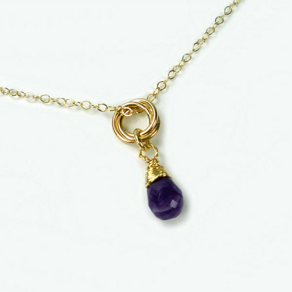 3 interlocking circle necklace gold amethyst
