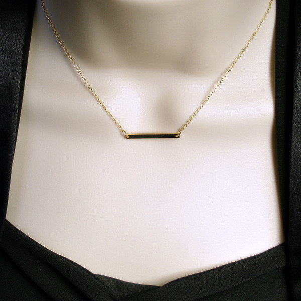 gold bar necklace simple minimalist jewelry