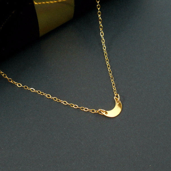 Gold Crescent Moon Necklace, Everyday, Simple, Dainty Minimal Jewelry