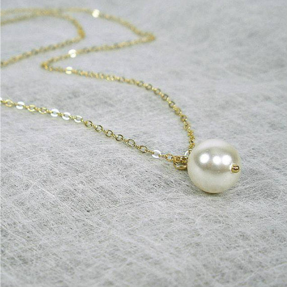 single pearl necklace one pearl simple Swarovski pearl