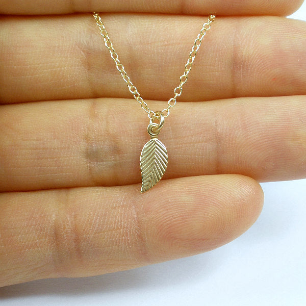 small leaf necklace gold minimalist
