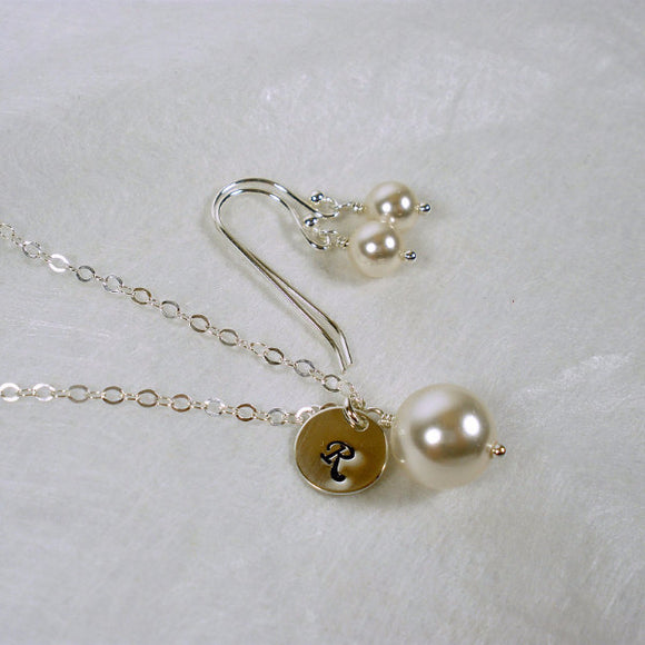 initial pearl necklace earrings set wedding party gift