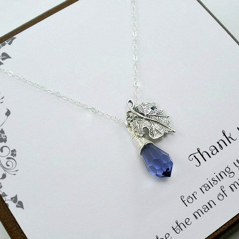 mother of groom gift from bride silver leaf necklace