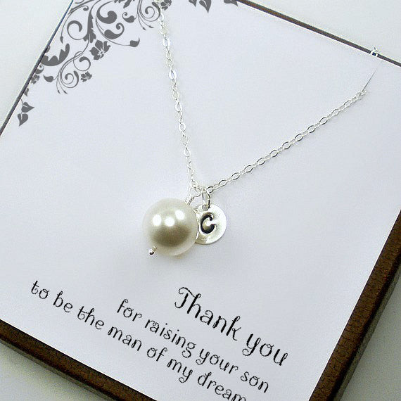 Mother of the Bride or Groom Gift Personalized Single Pearl Necklace