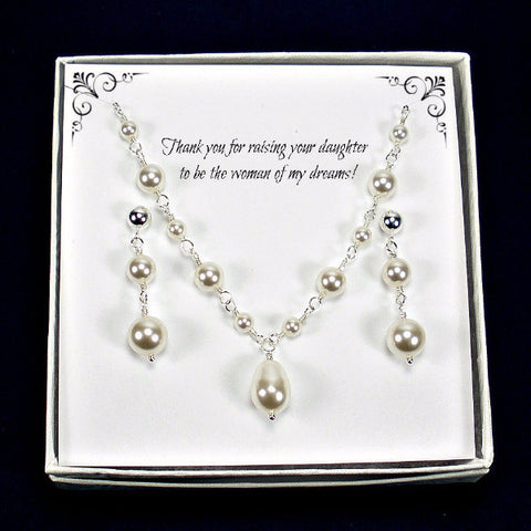 mother of the bride groom gift pearl wedding jewelry swarovski sterling silver handmade usa
