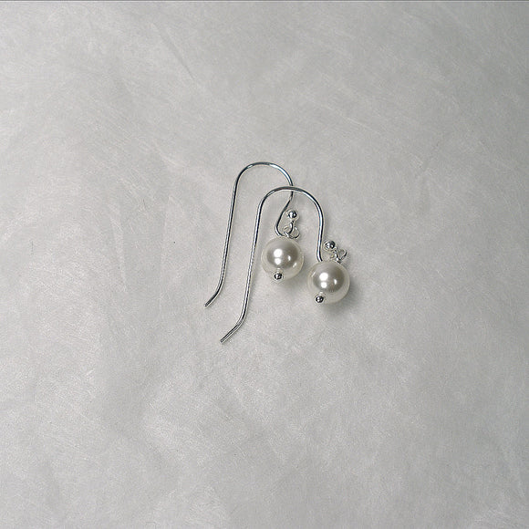 Women's Pearl Dangle Earrings Sterling Silver
