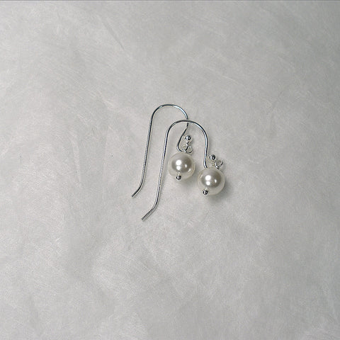 Women's Pearl Dangle Earrings Bridal Wedding Jewelry Sterling Silver