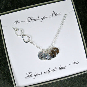 mom gifts personalized kids initial necklace infinity initial silver