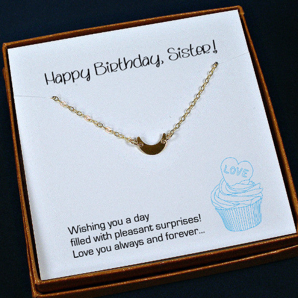 best birthday gift for sister gold moon necklace minimal jewelry