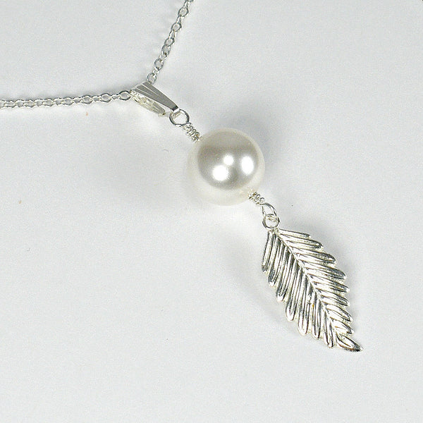 mom gifts birthday mother's day christmas silver gold pearl leaf necklace message jewelry