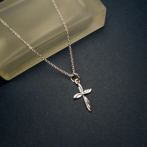 simple small cross necklace sterling silver