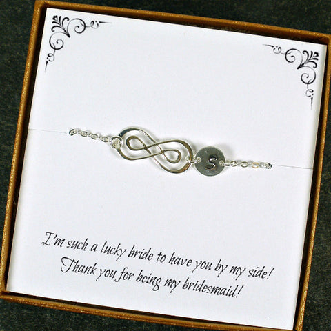 Bridesmaid Gift, Maid of Honor Gift, Thank you Wedding Gift, Personalized Infinity Bracelet Sterling Silver
