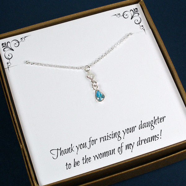mother of the bride gift groom mom necklace wedding gemstone jewelry silver
