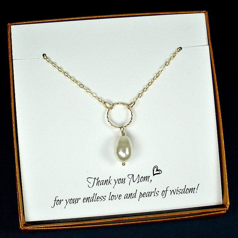 Mom Gifts Gold Necklace Swarovski Pearl