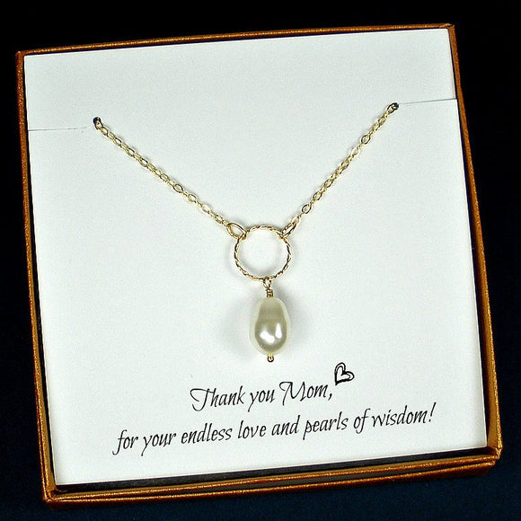 mom gifts gold mom necklace Swarovski pearl