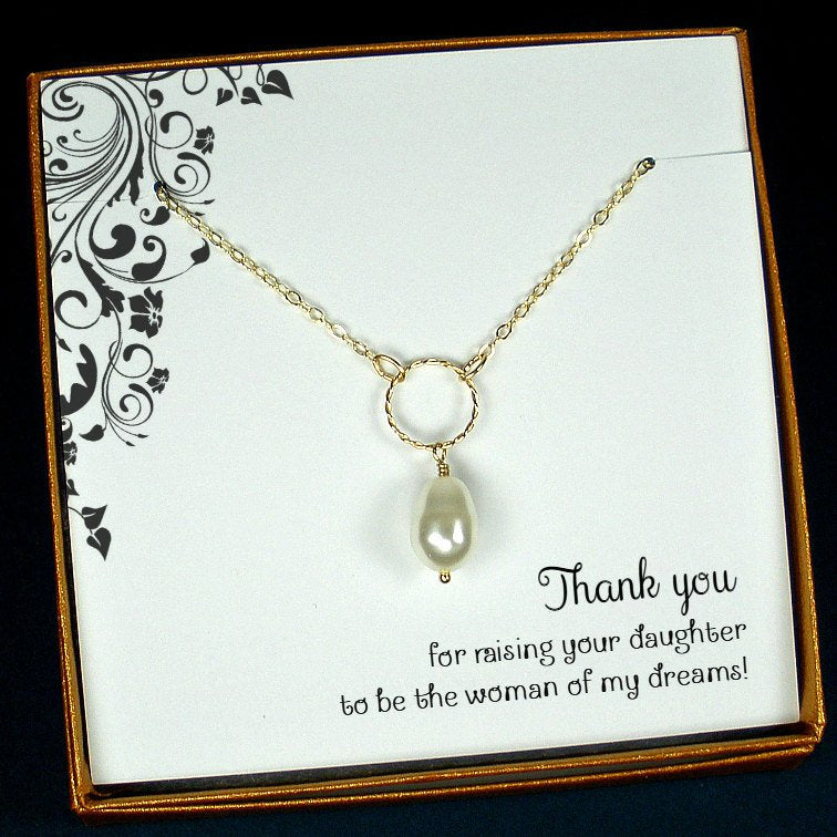 Mother Of The Bride Gifts From Groom Pearl Drop Necklace Gold Filled Starring You Jewelry