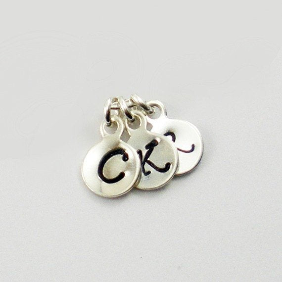 Hand Stamped Small Initial Charms: Sterling Silver