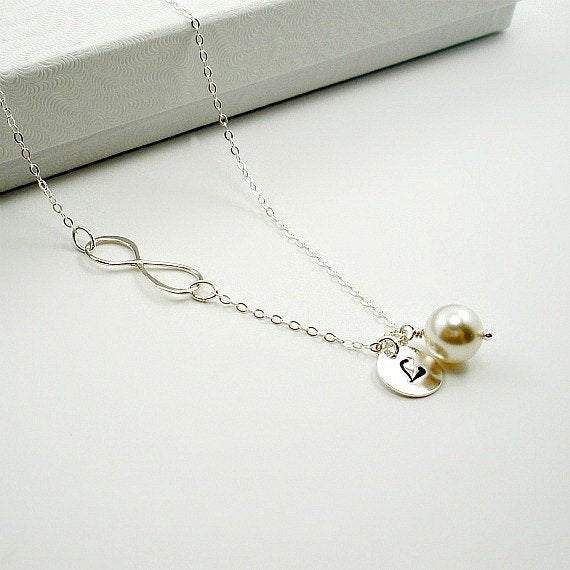 sideways infinity necklace initial personalized gift for women