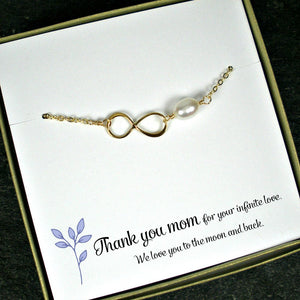 gold mom infinity pearl bracelet gift message jewelry