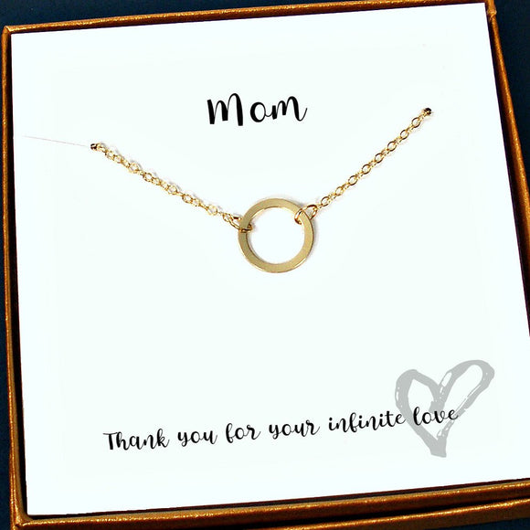 mom gifts gold circle necklace message card jewelry