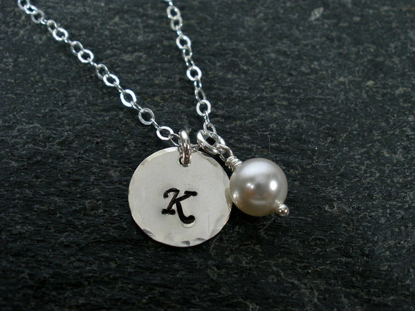 personalized initial necklace hammered sterling silver