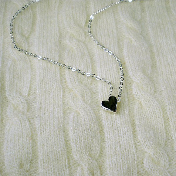 sterling silver heart bead necklace womens
