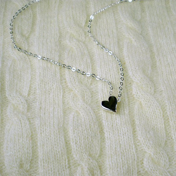 Silver heart bead necklace minimalist dainty womens necklace
